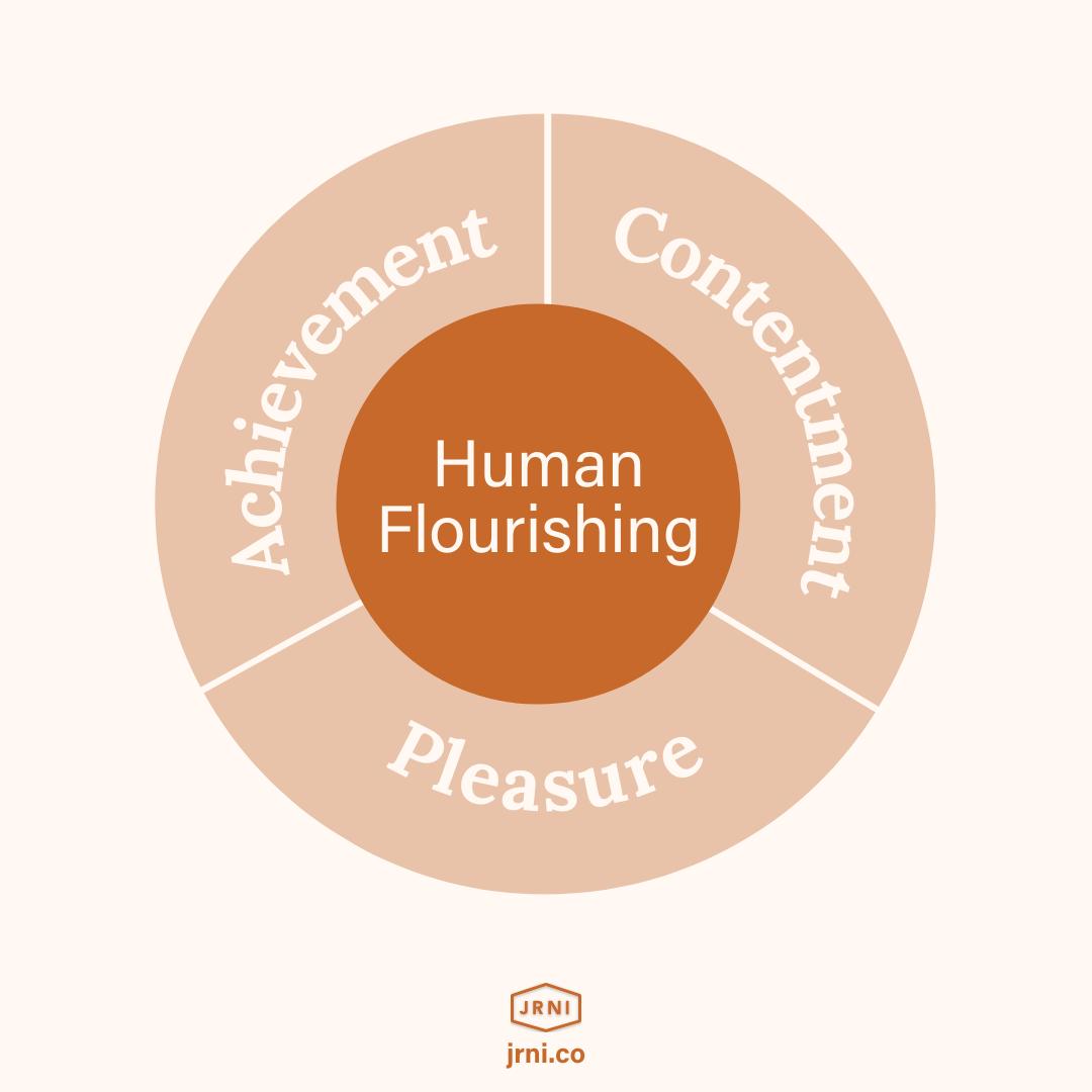 Diagram of human flouishing: 1/3each achievement, contentment, hedonic