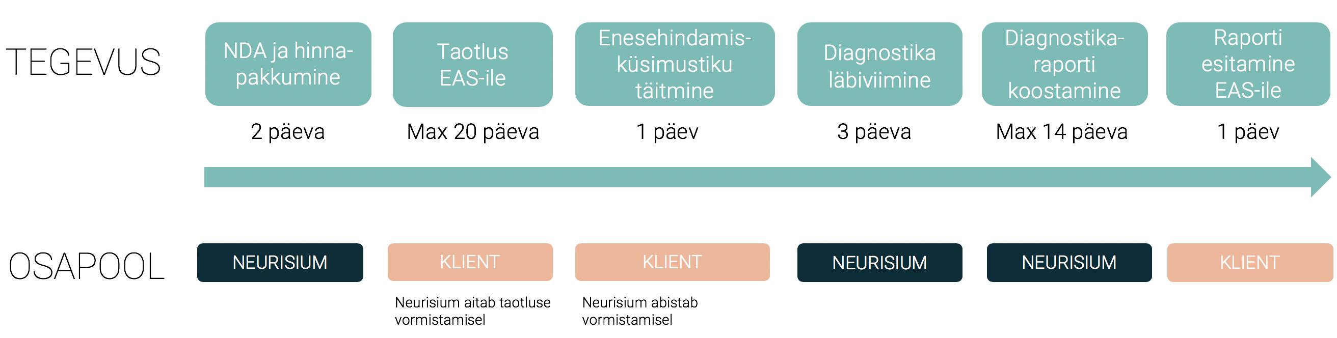 EAS-i digidiagnostika läbiviimise ajakava ning tööjaotus NEURISIUM-i ja tööstusettevõtte vahel.
