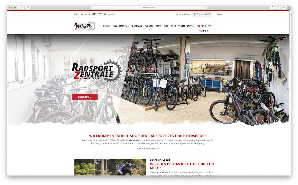 RZ-Bikestore Landingpage