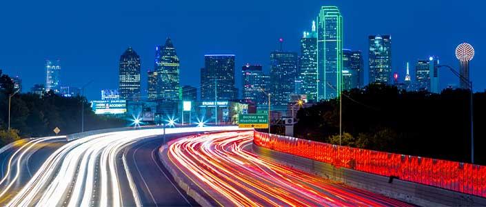 Dallas, Texas lit up at night