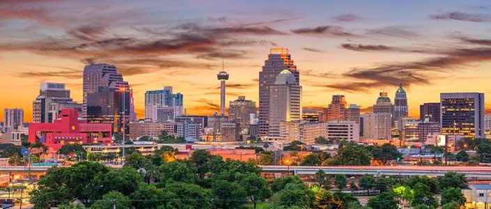 San Antonio Skyline Lit up at dusk