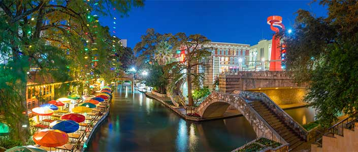 The San Antonio Riverwalk is lined with restaurants and retail shops