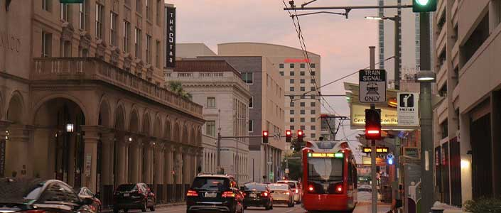 Houston's historic downtown is a major business hub in Texas