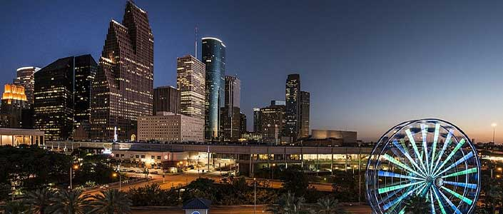 Downtown Houston Texas lit up at night