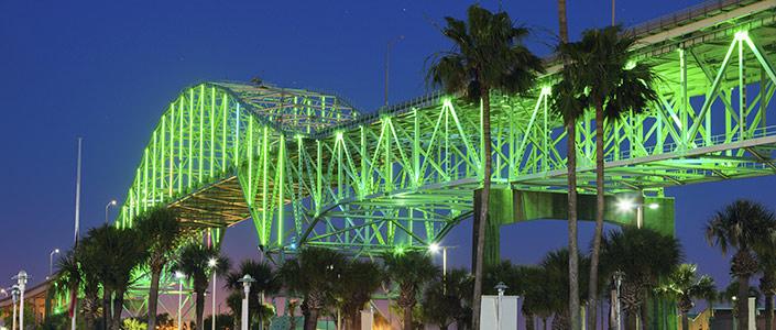 A Bridge in Corpus Christi, Texas lit up at night