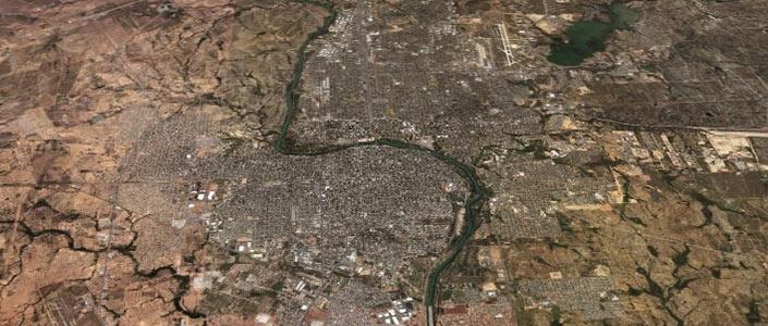 A Satellite view of Laredo, Texas