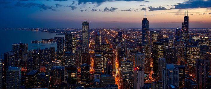 Chicago Illinois Downtown at night