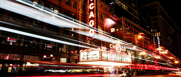 Chicago Theater lit up night