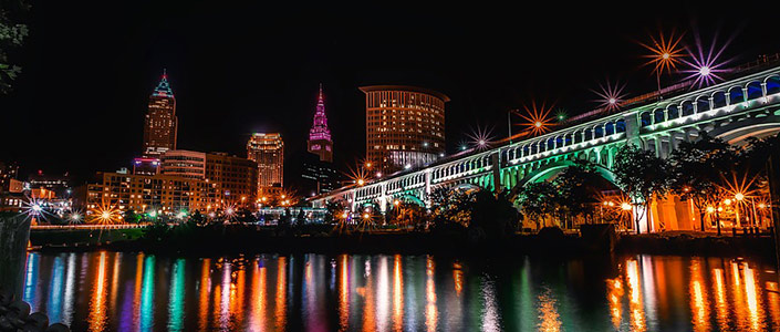 Clevland Ohio lit up at night