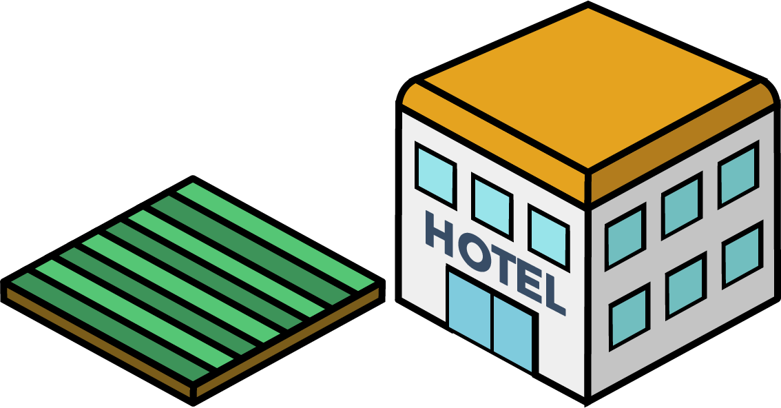 A 3D garden and hotel icon