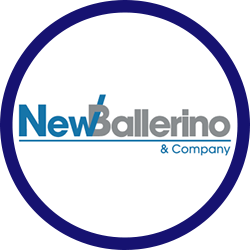 Logo of New Ballerino in a headshot template