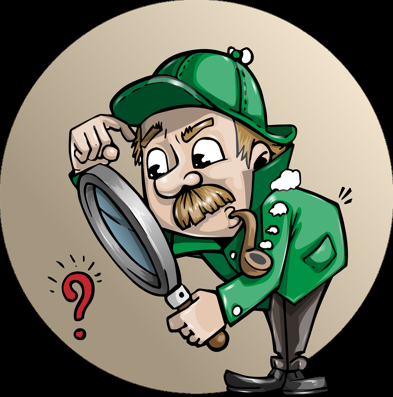 man analyzing with magnifying glass