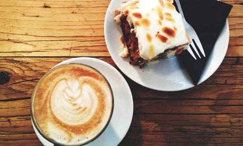 Piece of cake and latte