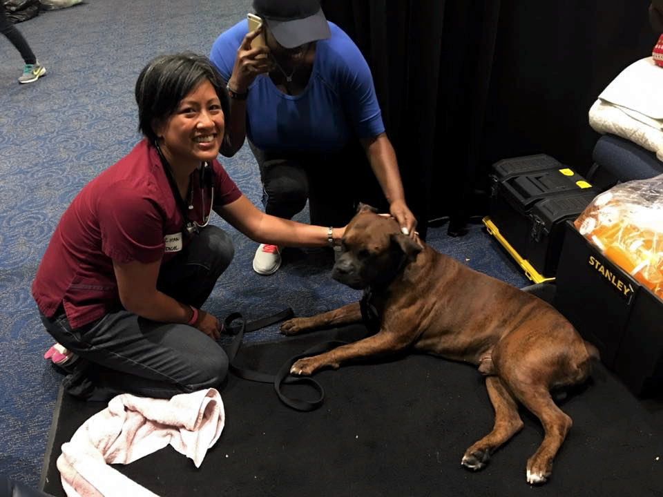 Dr. Han holds onto a rescued dog and smiles at the camera
