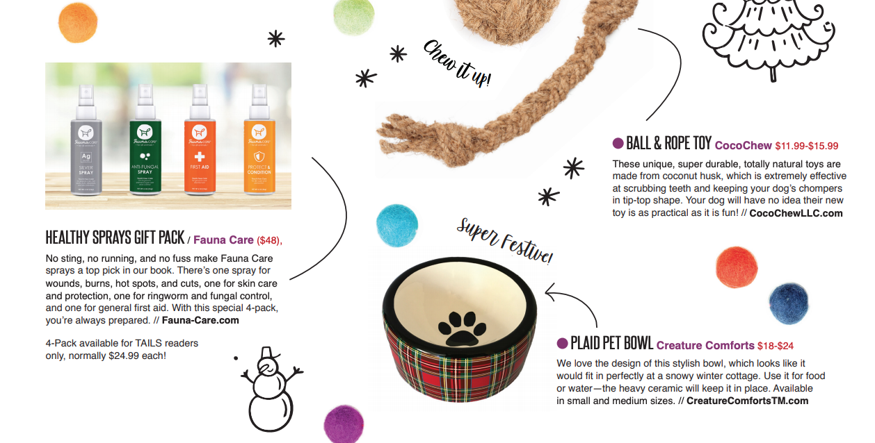 Fauna Care Featured in Tails Magazine Holiday Gift Guide