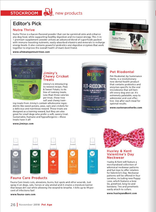 FaunaCare and other products featured in Pet Age magazine