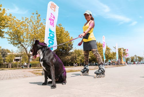 A woman on roller blades holds her dog's leash