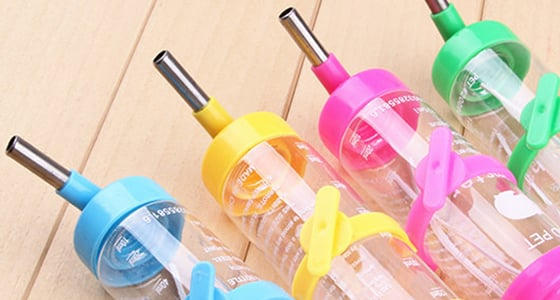 Colorful water bottles for your pet rat