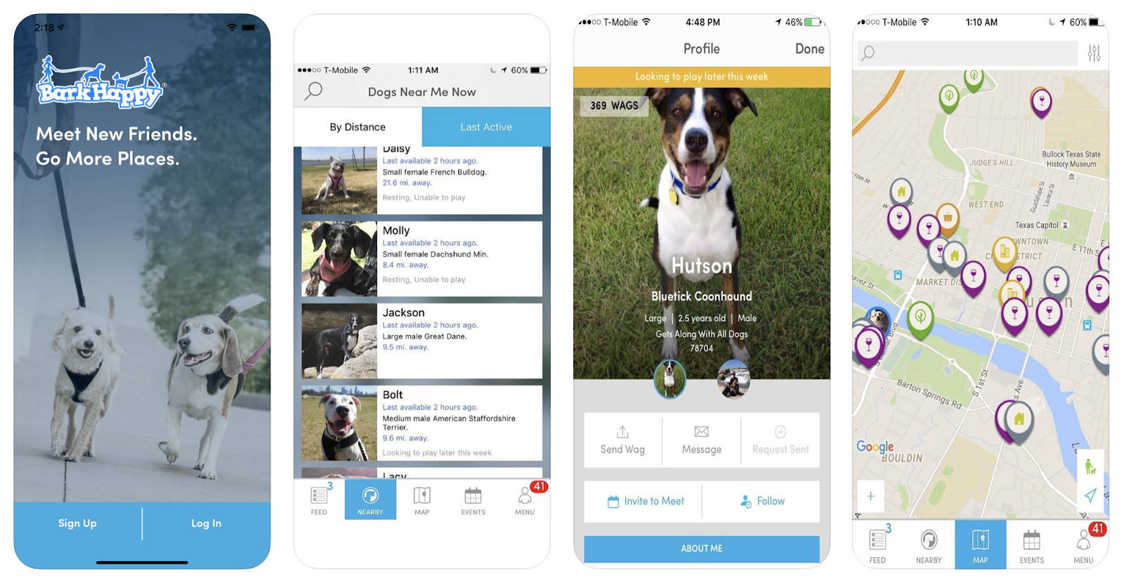 "A photo of the design and capabilities of the ""Barkhappy"" App."