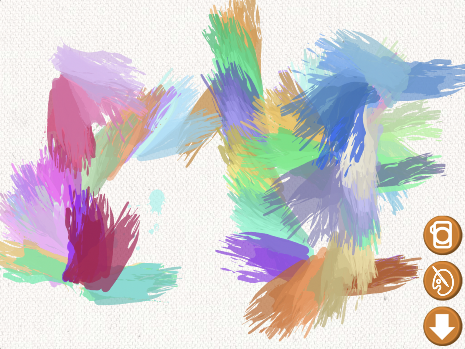 "A painting with vibrant colors created by a dog while using the ""App For Dog"" app."