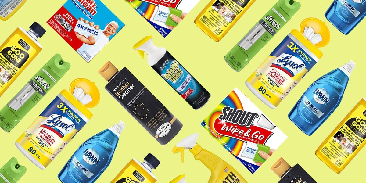 Many cleaning supplies on a yellow background