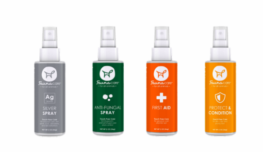 A row of Fauna Care products for first aid, fungal infections, and skin protection.