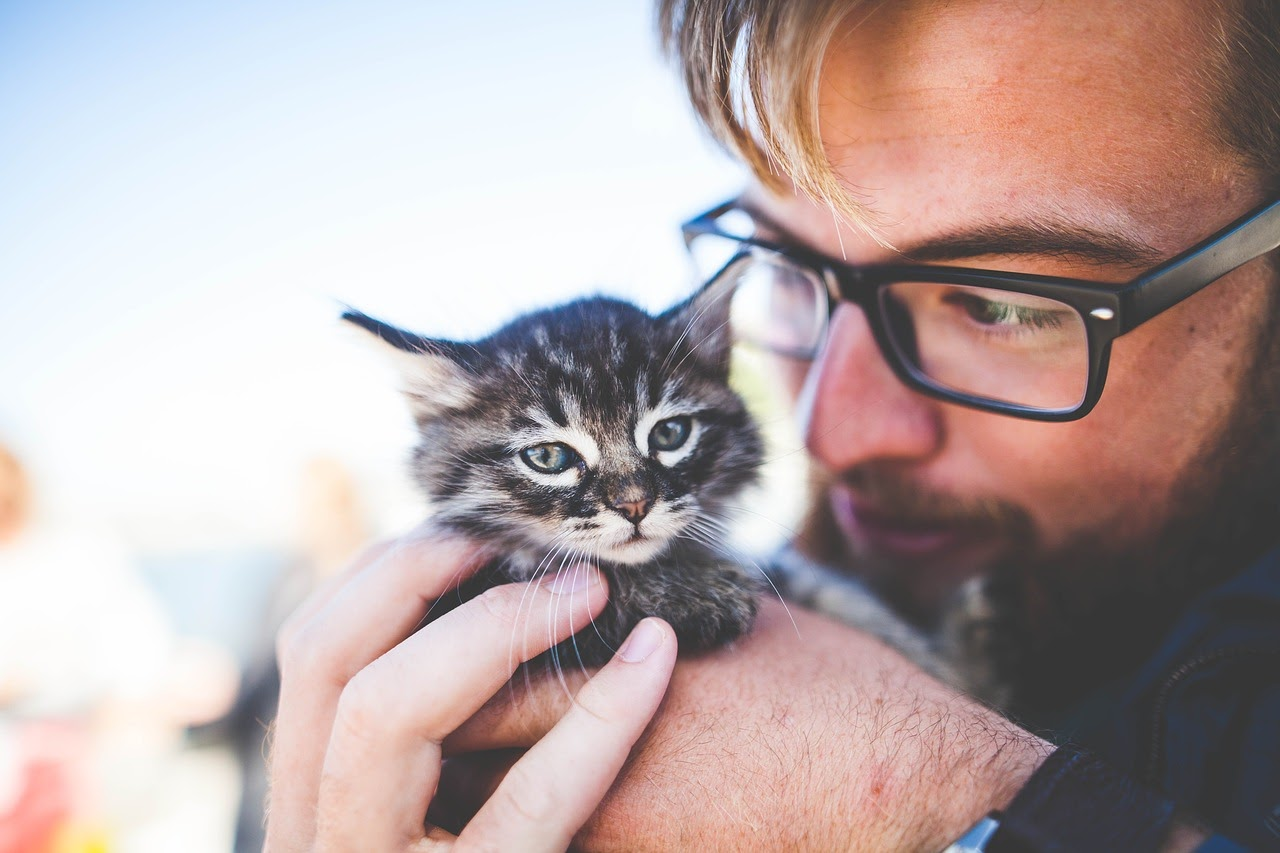 A man hold his adopted kitten close to his face.
