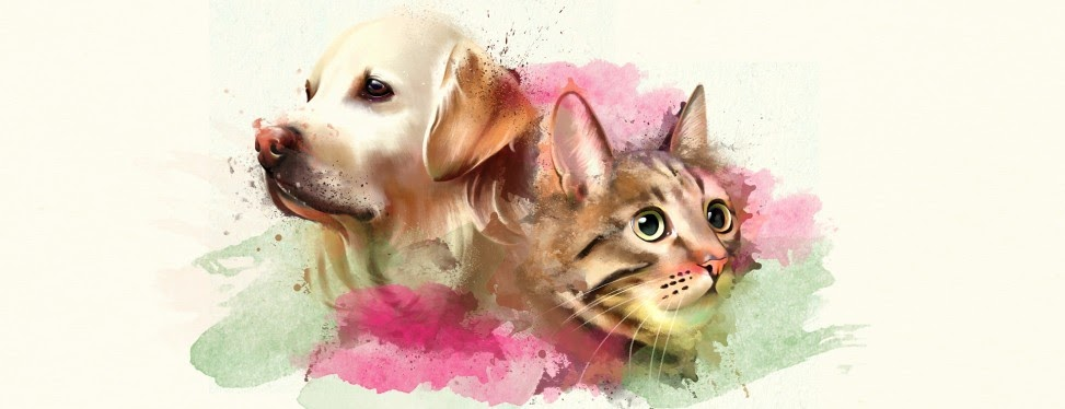A very realistic watercolor painting of a dog and a cat with splashes of green and pink around them