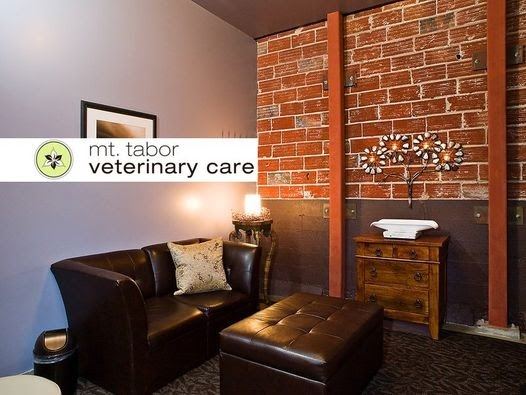Interior of the Mt. Tabor Veterinary care waiting room with a brick wall and brown leather couch and ottoman.