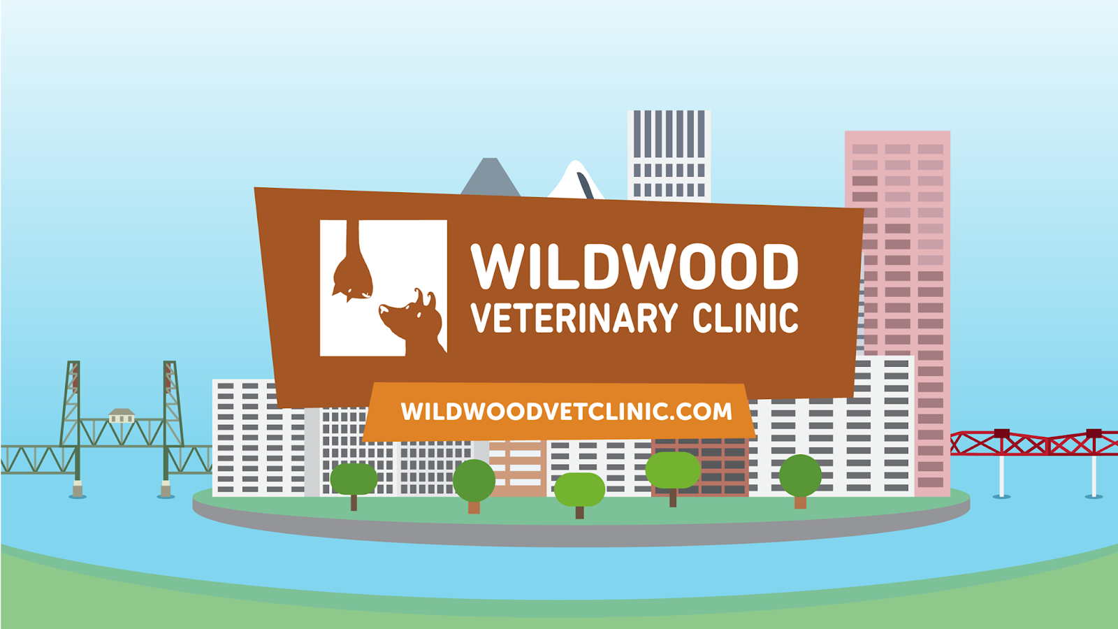 Wildwood Veterinary Clinic logo, cartoonish drawing of a city in the middle of water with two bridges on either end.