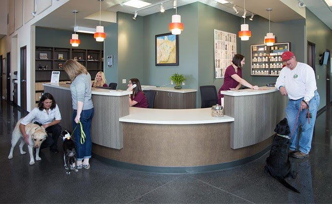 Photograph of the Bethany Family Pet Clinic waiting room with several people behind the front desk and a couple canine patients with their owners.