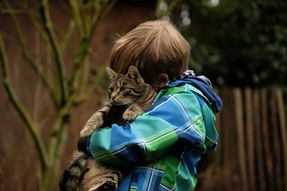 kid hugging a cat