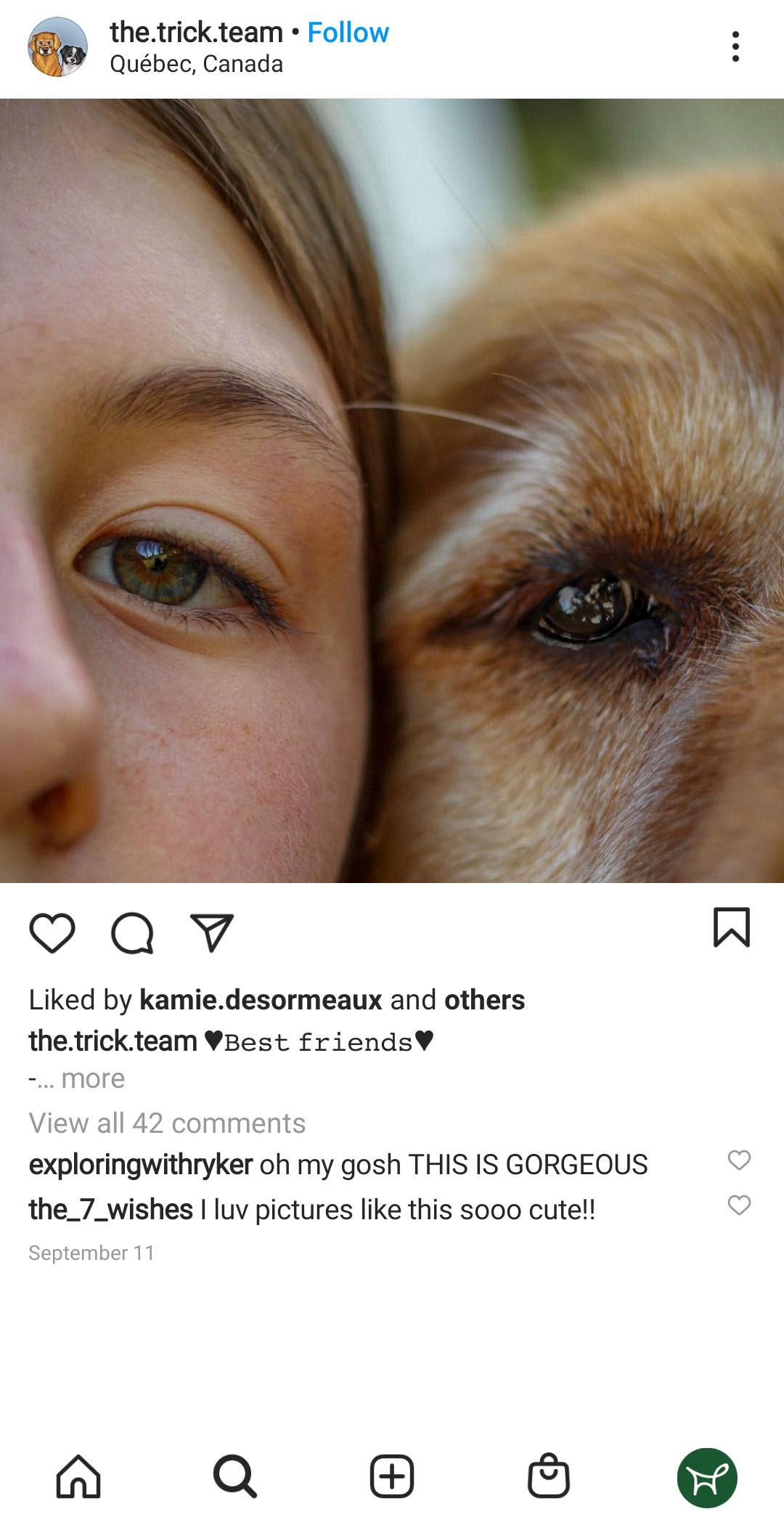 Woman and dog photo close up