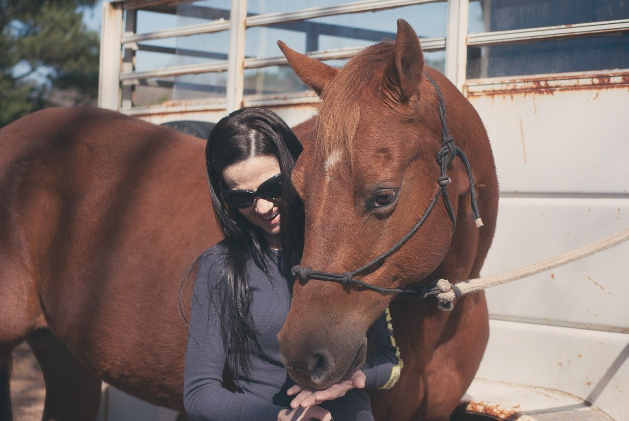 A brown haired woman feeds her chestnut colored horse from her open palm.