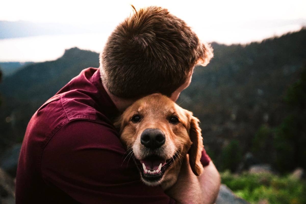 Dog and owner hugging