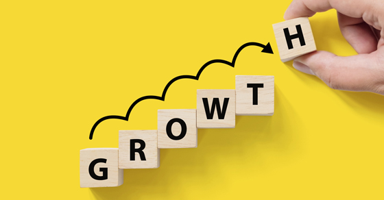 Growth spelled out in scrabble letters