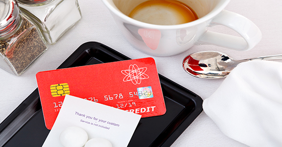 credit card on restaurant tab