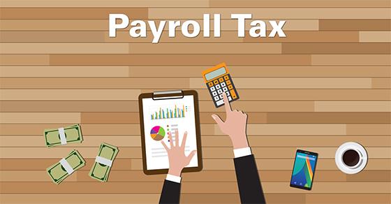 cartoon of someone working on payroll tax