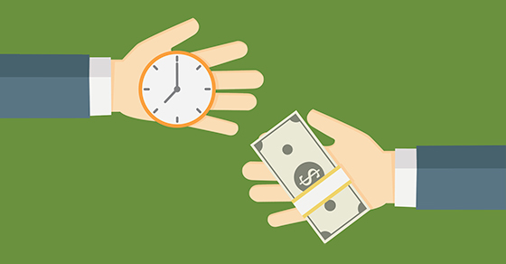 illustration of one hand with watch and another hand with money