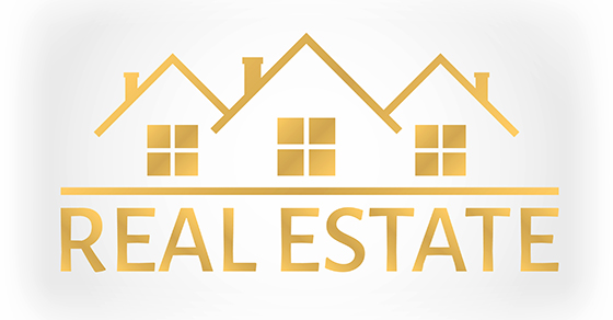 real estate illustration in gold