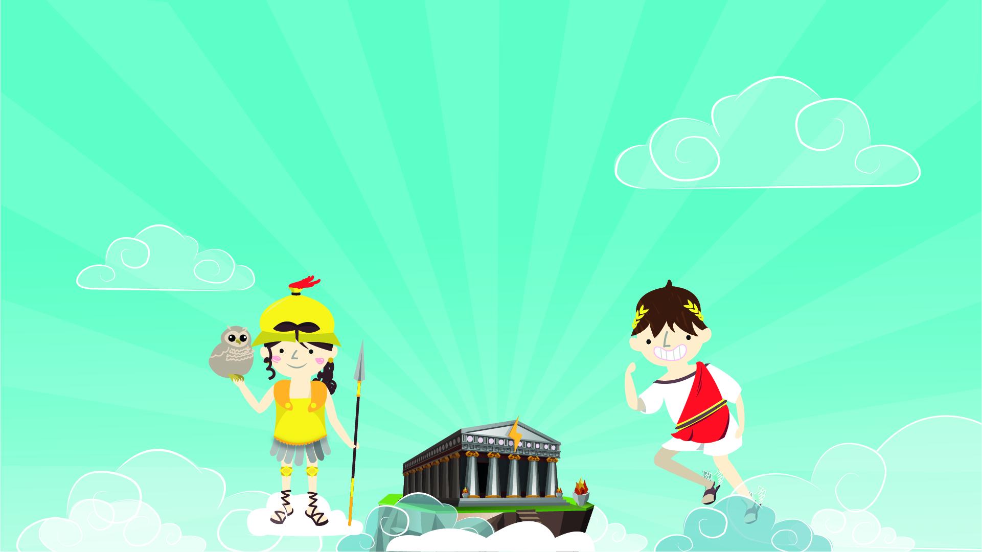 Les deux divinités de Mots sans Maux, Artemis et Mercure, vous accueillent au temple au sommet de l'Olympe.