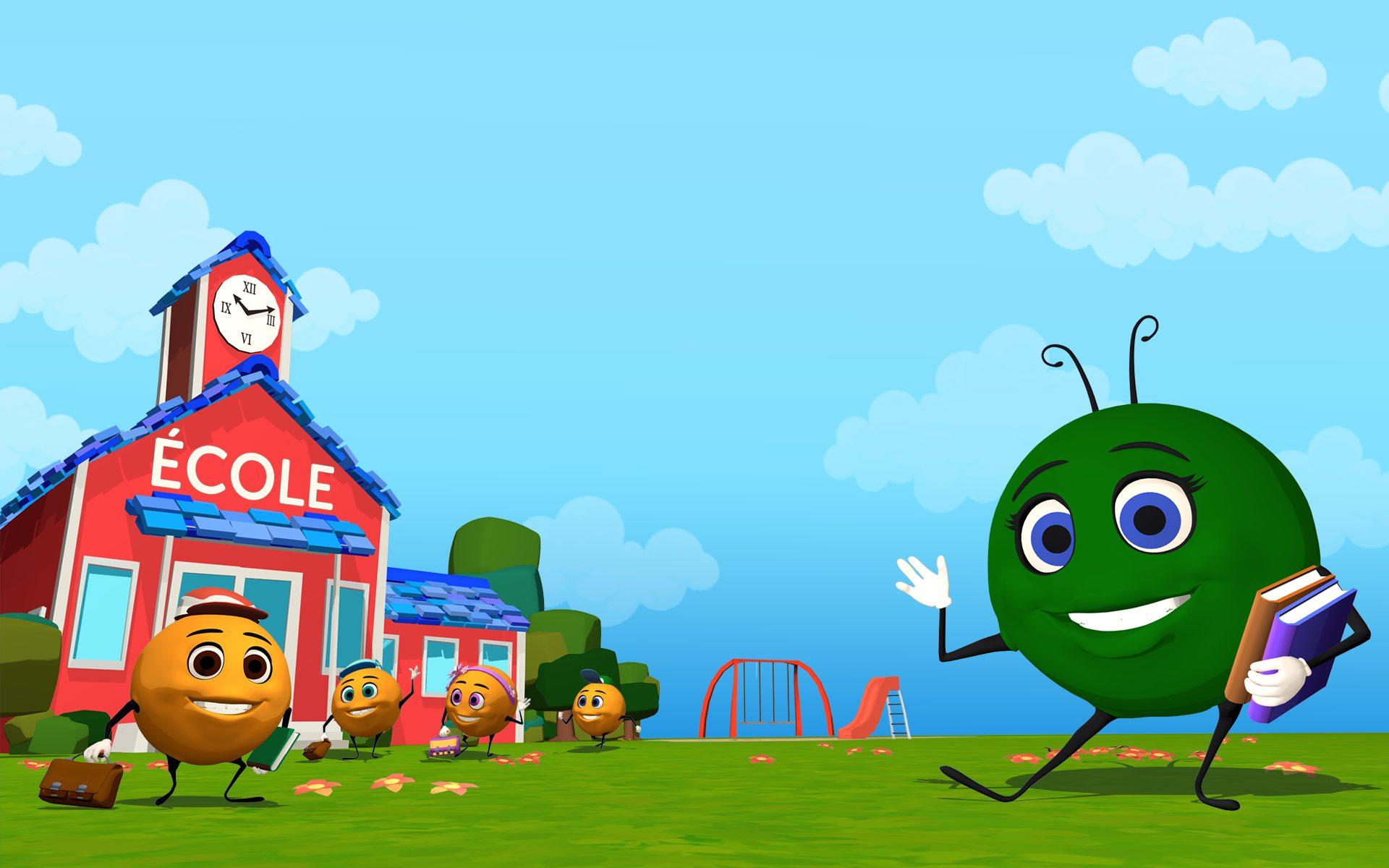 À gauche de l'image, les petits Mos devant l'école. À droite, Madame Mo vous envoie la main.