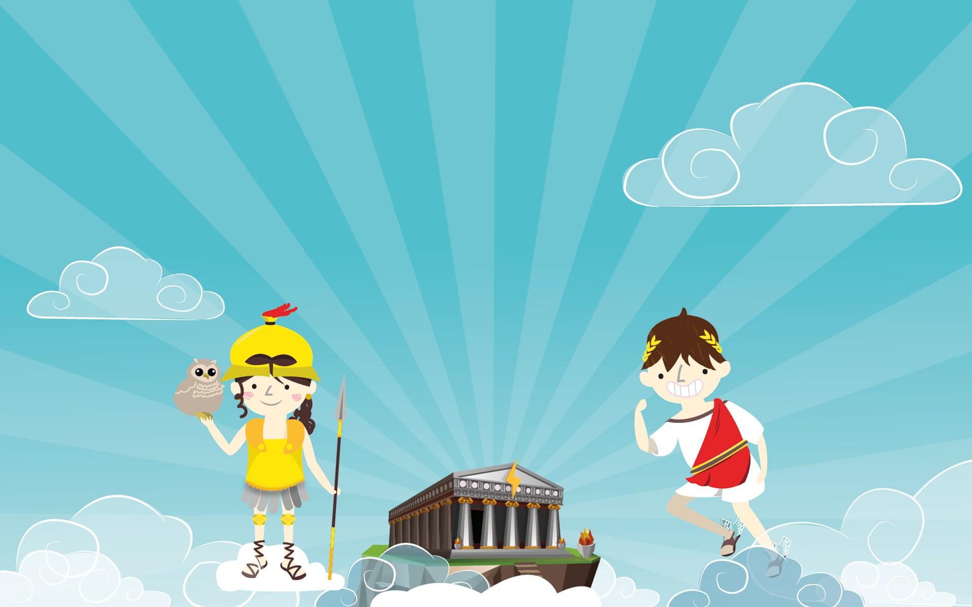 Les petits dieux vous accueillent devant l'Olympe.