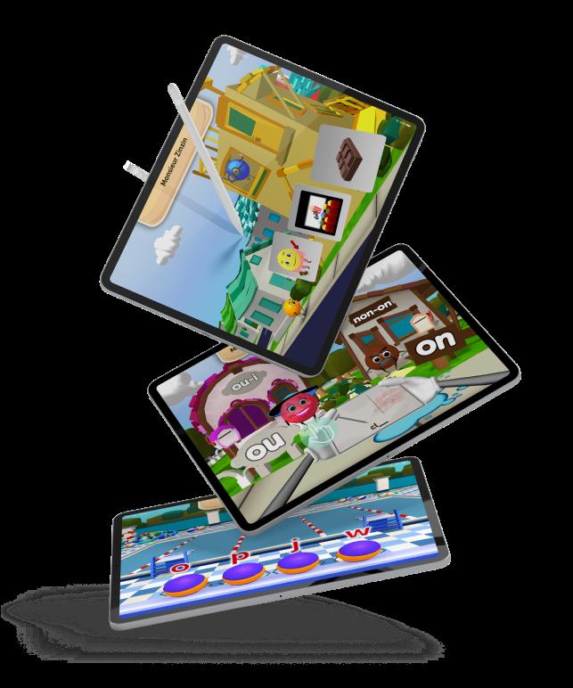 3 tablets showing Appligogiques games.