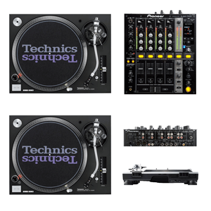 collage of dj equipment including technics turntables