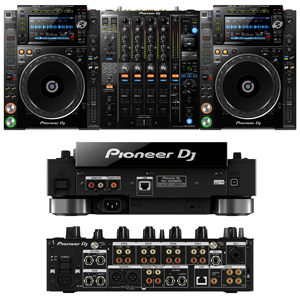 top rear and front view of dj gear for rent