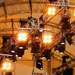 a view of a stage lighting rig for rent