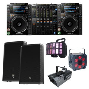 collage of dj equipment for hire including cdj