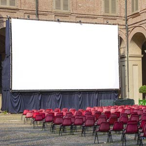 view of a large cinema screen for hire