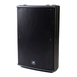 Side angle view of a Australian Monitor speaker for hire
